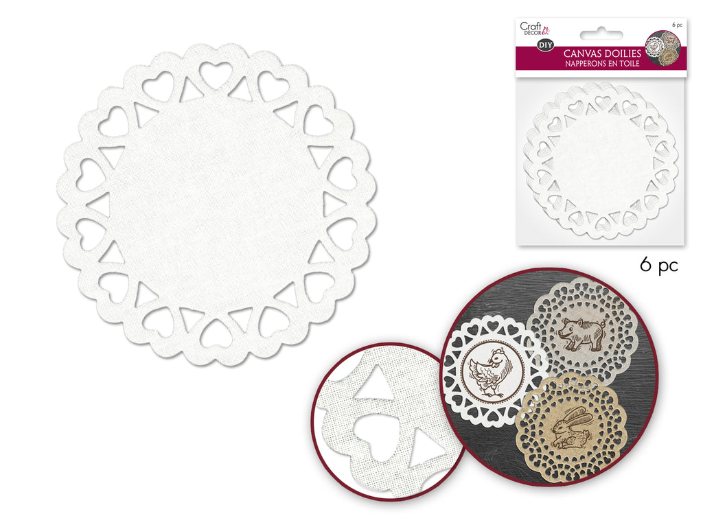 Canvas Craft: 10.3cm Doilies x6 A) White