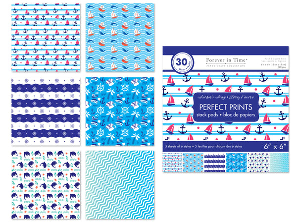 "Paper Pads: 6""x6"" Perfect Prints Stack Packs x30 Asst 44) Anchor's Away"