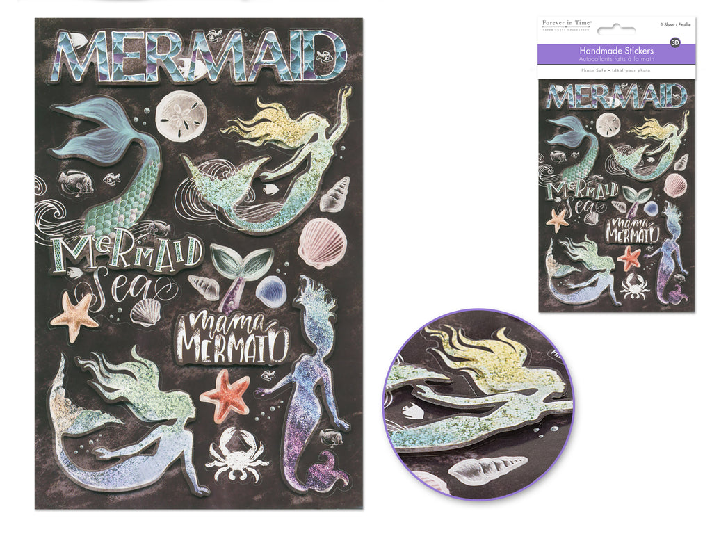 Handmade Sticker: 12.5cmx18.5cm 3D Themed I) Mermaid