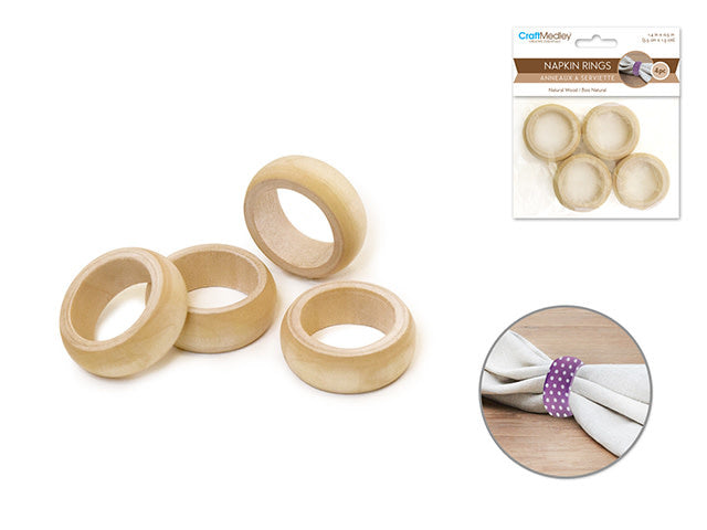 1 3/8''x1/2'' Napkin Rings x4 Natural