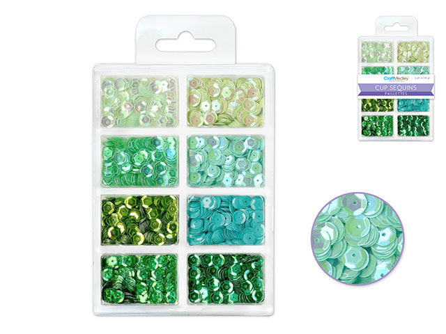 6mm Cup Sequins 25g Greens