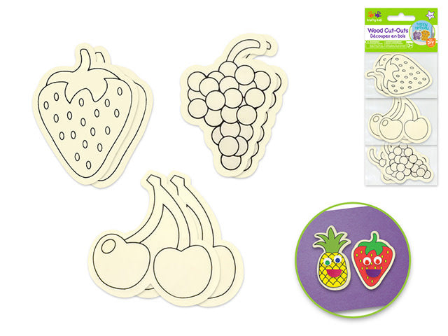 Wood Printed Cut-Outs x6 -  Berry Fun