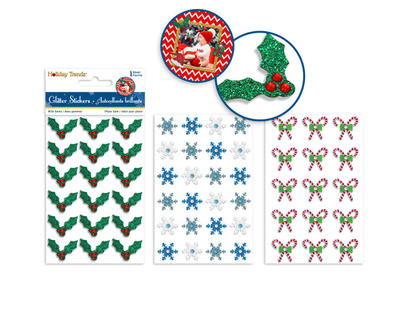 Holiday Stickers: 8.5cmx14cm Glitter Icons w/Gem Asst 16eax3styles A) Holiday Icons