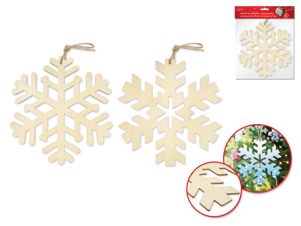 "Holiday Wood: DIY 8"" Snowflake Hanger Plaque/Orn 2pc w/Jute Cord Asst 2stl"