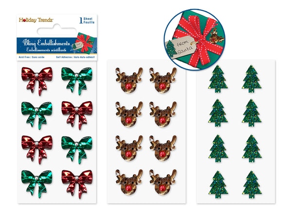Holiday Embellishment: 3D 5.5cmx12.5cm Bling Stickers Asst styles A) Holiday Icons