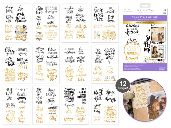 "Paper Pads: 5.8""x8.2"" Vellum Foil Print Stack Packs 12sheet E) Inspirational Quotes 3"