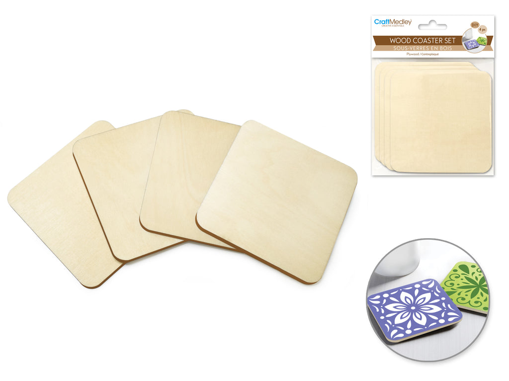 Craftwood: 9.5cm DIY Plywood Coasters 4pc 5mm(T) B) Square