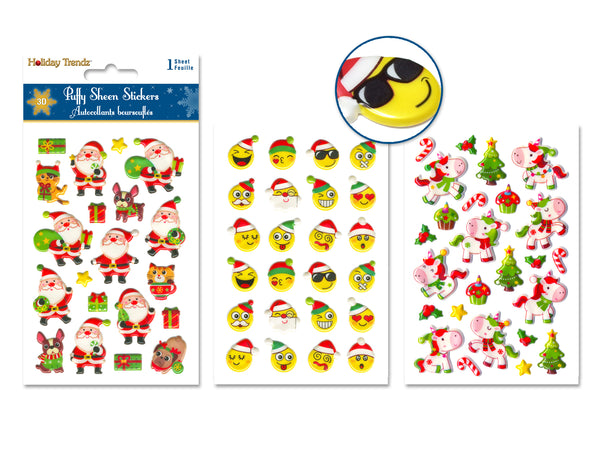 "Holiday Stickers: 3.9""x5.9"" 3D Puffy Sheen Assorted styles A) Holiday Icons"