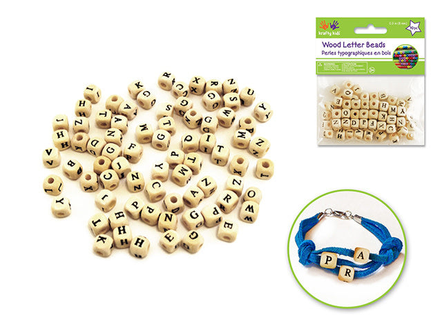 Wood Beads: 8mm Letter Beads - Natural
