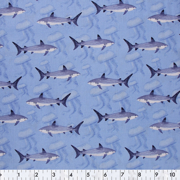 FABRIC CREATIONS 42″ Cotton Fabric  - Sharks and Jellyfish  - Sold per inch