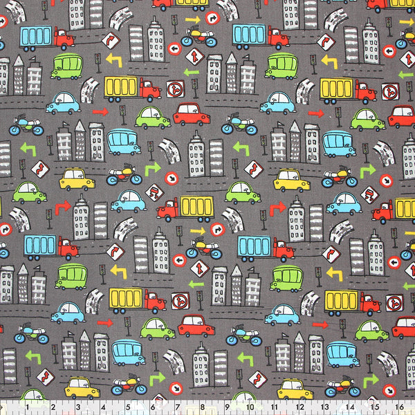 FABRIC CREATIONS 42″ Cotton Fabric  - Colorful Cars   - Sold per inch
