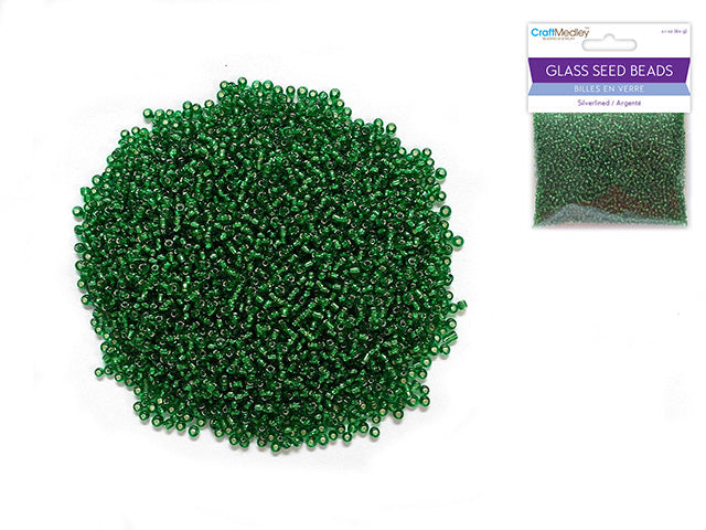 Glass Seed Beads: 12/0 Silverlined 60Gms -Emerald