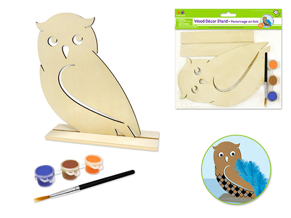 Krafty Kids Kit: 18x15cm DIY Wood Stand-Ups w/3 Paint Pots+Brush