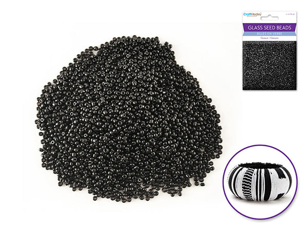 Glass Seed Beads: 12/0 Opaque 60Gms - Black
