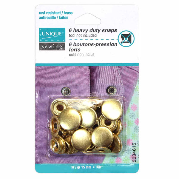 UNIQUE SEWING Heavy Duty Snaps Gold - 15mm (5⁄8″) - 6 sets