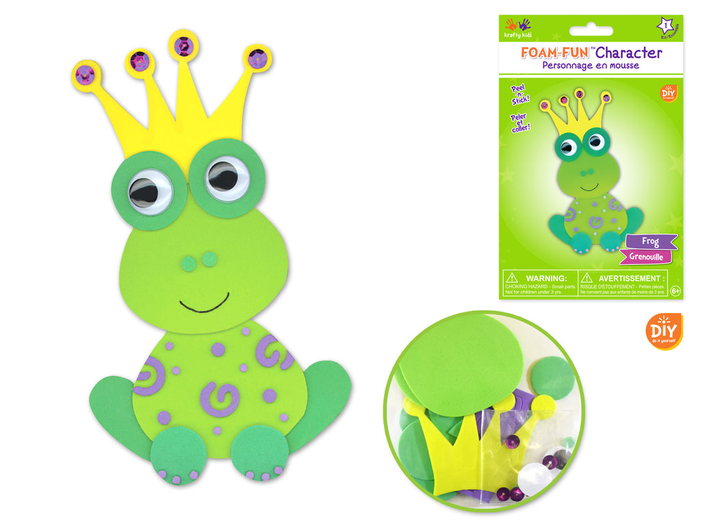 Krafty Kids Kit: DIY Foam-Fun Character Kit (makes 1) E) Frog