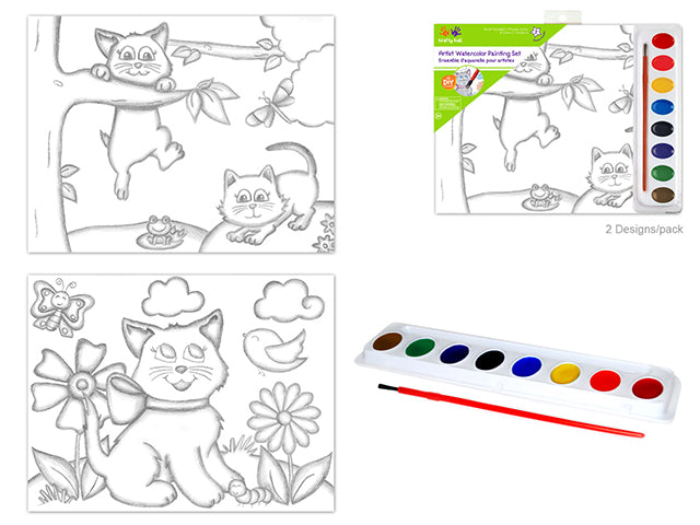 Krafty Kids Kit: 'DIY' Lil' Artist Watercolor Painting Set Asst J) Kitties