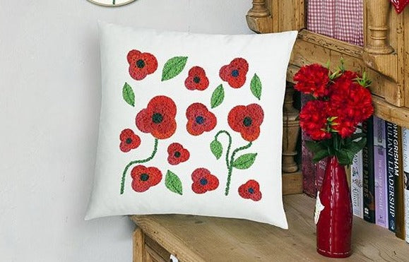 Duftin Punch By Number/Punch Needle Embroidery Poppy Pillow, Ivory, 40cm x 40cm
