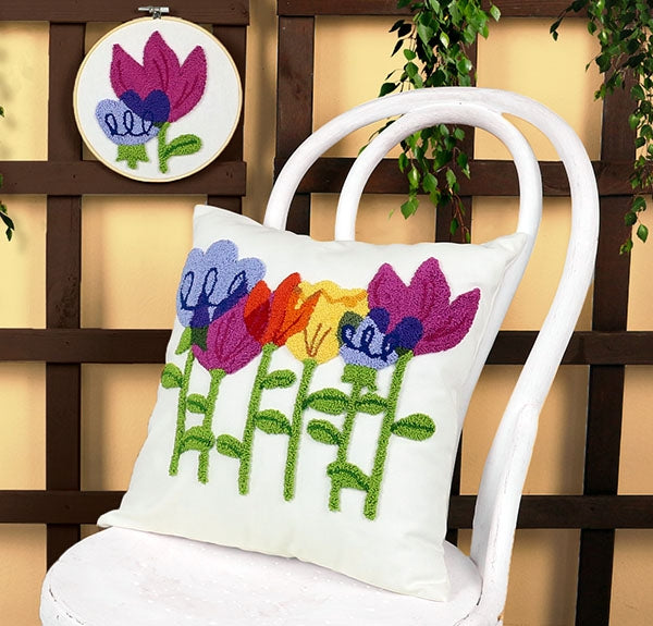 Duftin Punch By Number/Punch Needle Embroidery Multi-Colour Tulips Pillow, Ivory, 40cm x 40cm