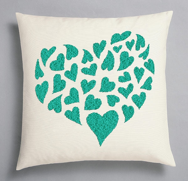 Duftin Punch By Number/Punch Needle Embroidery Teal/Turquoise Hearts Pillow, Ivory, 40cm x 40cm