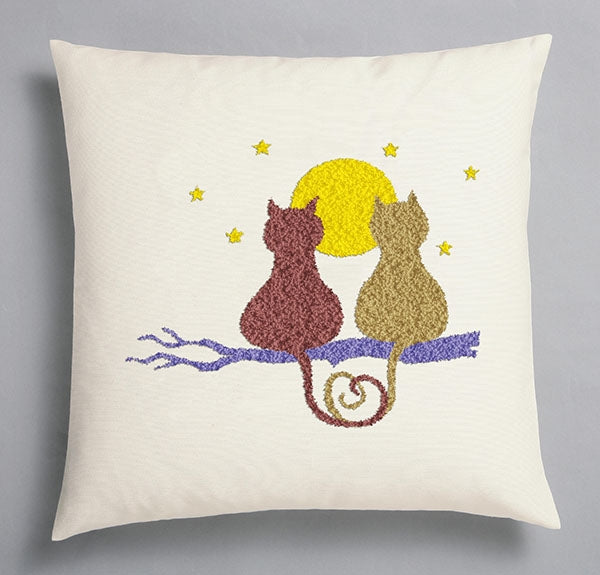 Duftin Punch By Number/Punch Needle Embroidery Cats Silhouette Pillow, Ivory, 40cm x 40cm