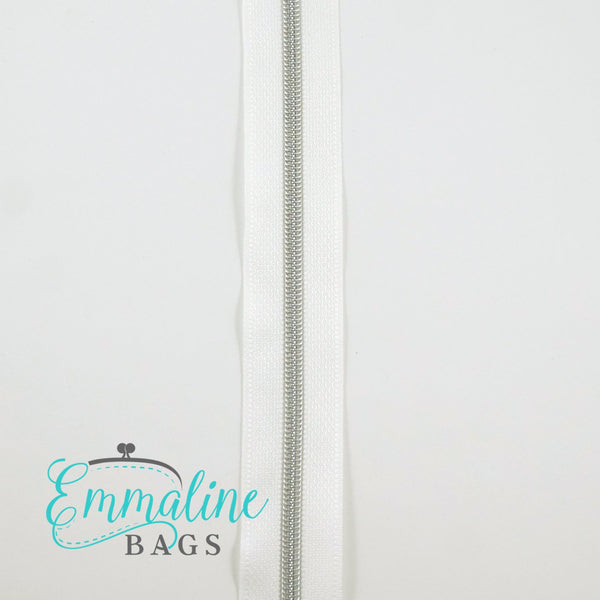 Emmaline Zippers-by-the-Yard - *SIZE#3* (DOES NOT INCLUDE SLIDERS/PULLS White tape with silver coil
