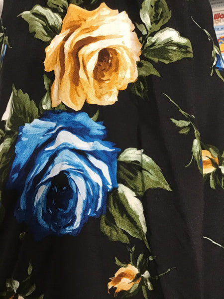 Picasso Poplin Prt 3853303 -Price per inch -100%  Viscose  120 GSM  Black/Blue Rose