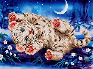 Diamond Dots Diamond Embroidery Facet Art Kit 17''X13.75'' Baby Tiger Roly Poly