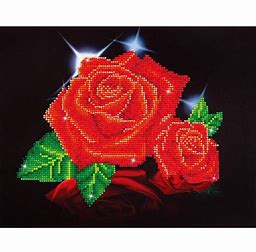 Diamond Dots Diamond Embroidery Facet Art Kit 17''X13.75'' Red Rose Sparkle