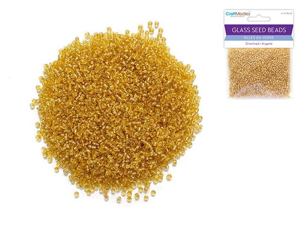 Glass Seed Beads: 12/0 Silverlined 60Gms I) Gold