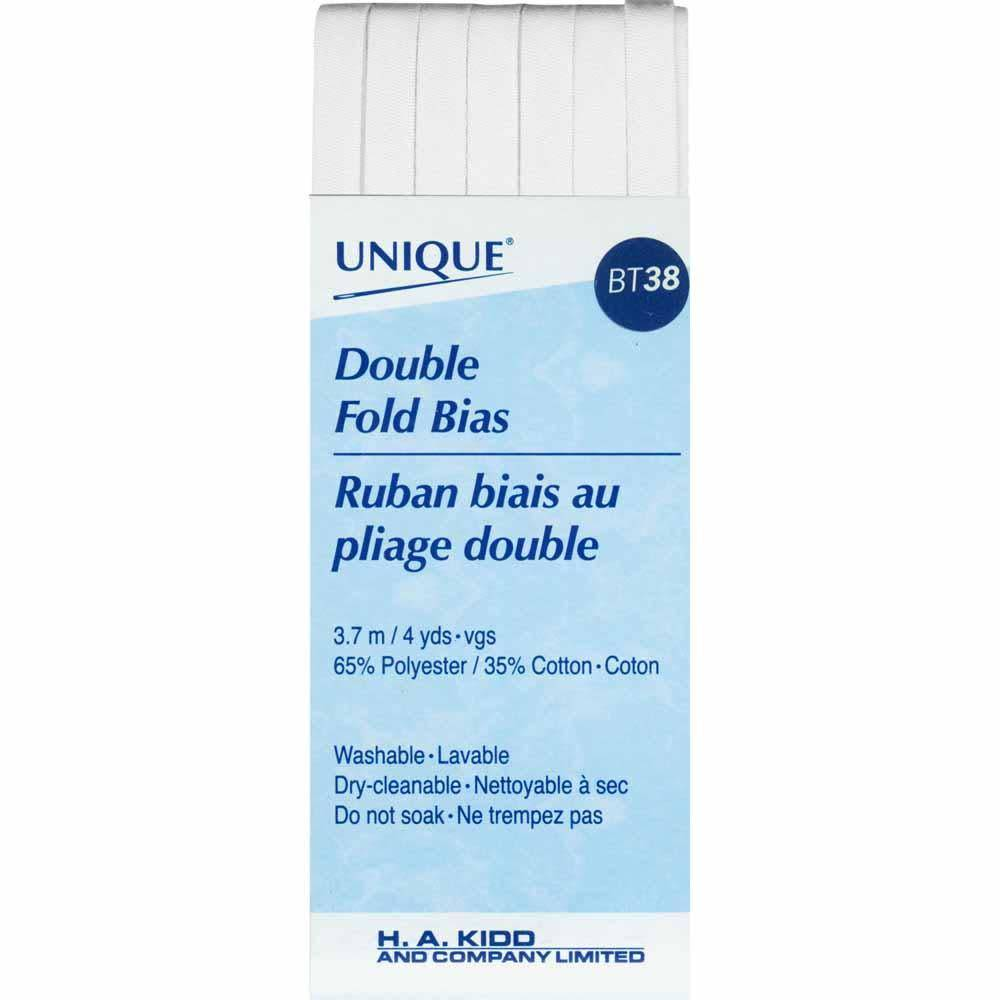 UNIQUE Double Fold Bias Tape 6mm x 3.7m - White