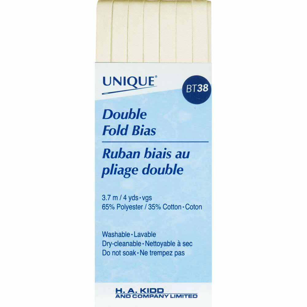 UNIQUE Double Fold Bias Tape 6mm x 3.7m - Ivory
