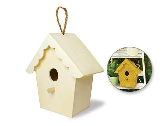 Wood Craft: 6''-6.5'' Birdhouse w/Jute Hanger - B) Scallop Roof