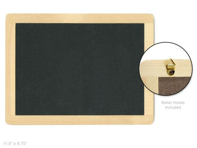 Wood Craft: 11.5''x8.75'' Natural DIY Chalkboard Frame w/Metal Hooks