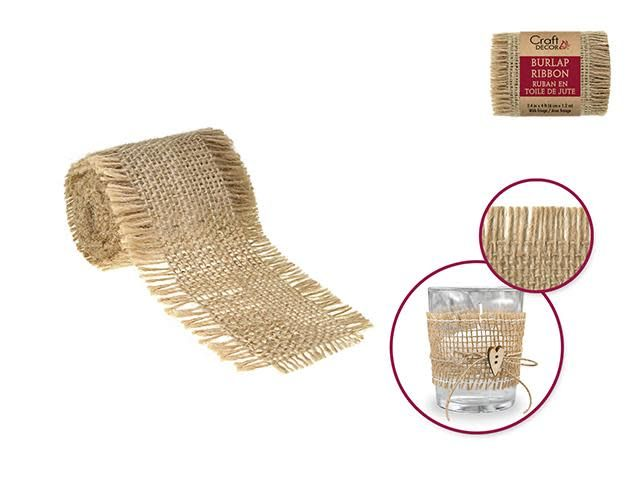 CR250 Craft Decor Ribbons: 6cmx1.2m Natural Burlap Trim w/Fringe