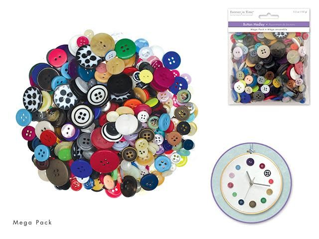 Button Embellishment: 150g Buttons Mega-Pack Medley