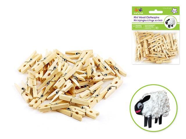 1 3/16'' Mini Clothespins Natural 40/pk
