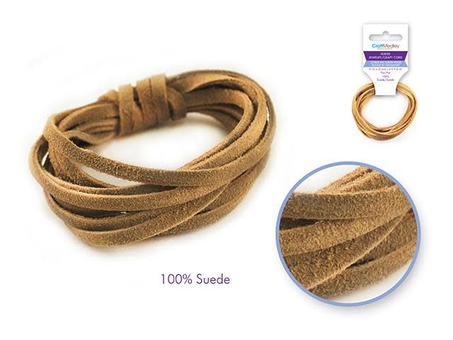 Jewelry/Craft Cord: 100% Suede 3mm Flat x2m - D) Natural