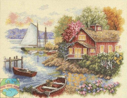Peaceful Lake House Cross Stitch