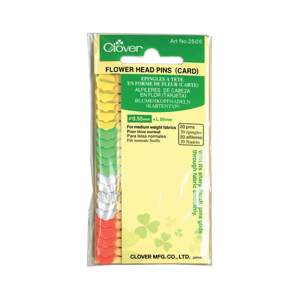 CLOVER 2505 - Flower Head Pins (Carded) - 50mm (2'')