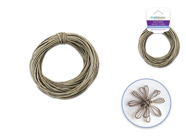 Natural Hemp Cord: 20lb (1mm) 15yd/hank