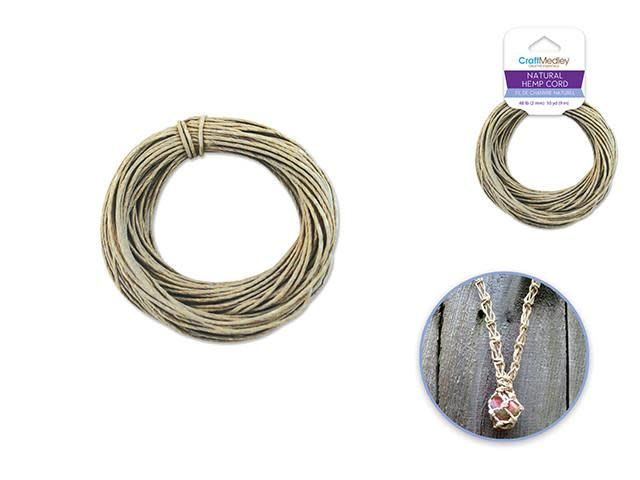 Natural Hemp Cord: 48lb (2mm) 10yd/hank
