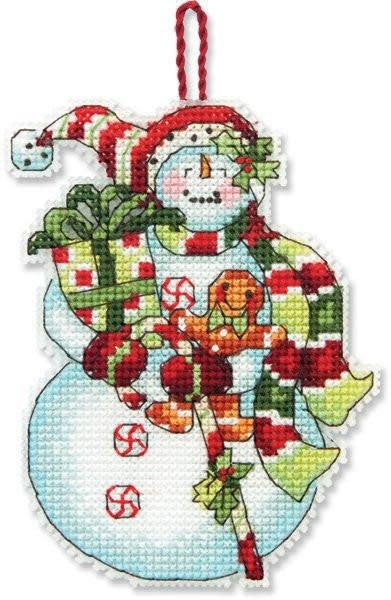 Dimensions Cross Stitch Kit- Snowman With Sweets Ornament
