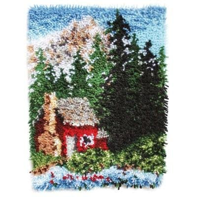 Wonderart Latch Hook Kit 15'' x 20'' Cozy Cabin