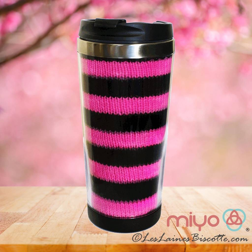 Biscotte Yarns Travel Mug - Knit Your Own - Black Mug - Pink and Pur Yarn