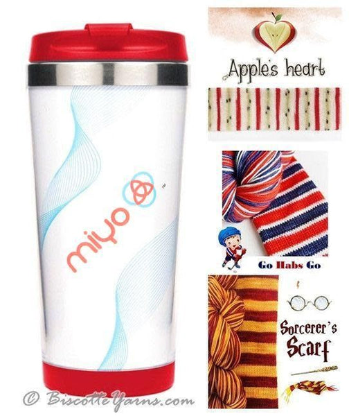 Biscotte Yarns Travel Mug - Knit Your Own - Red Mug - Apples Heart Yarn