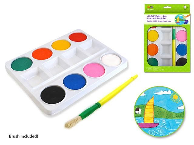 Jumbo Watercolor Paint Palette Set w/ brush
