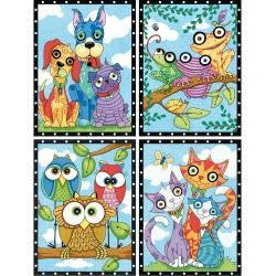 Pencil Works Color By Number Kit 9''X12'' Animal Trios