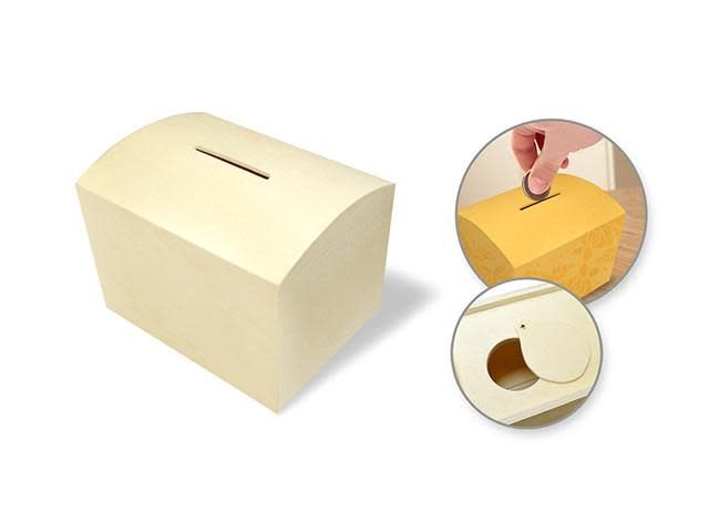 Wood Craft: 3.9''X3''X3'' Diy Coin Piggy Bank W/Bottom Slide Latch
