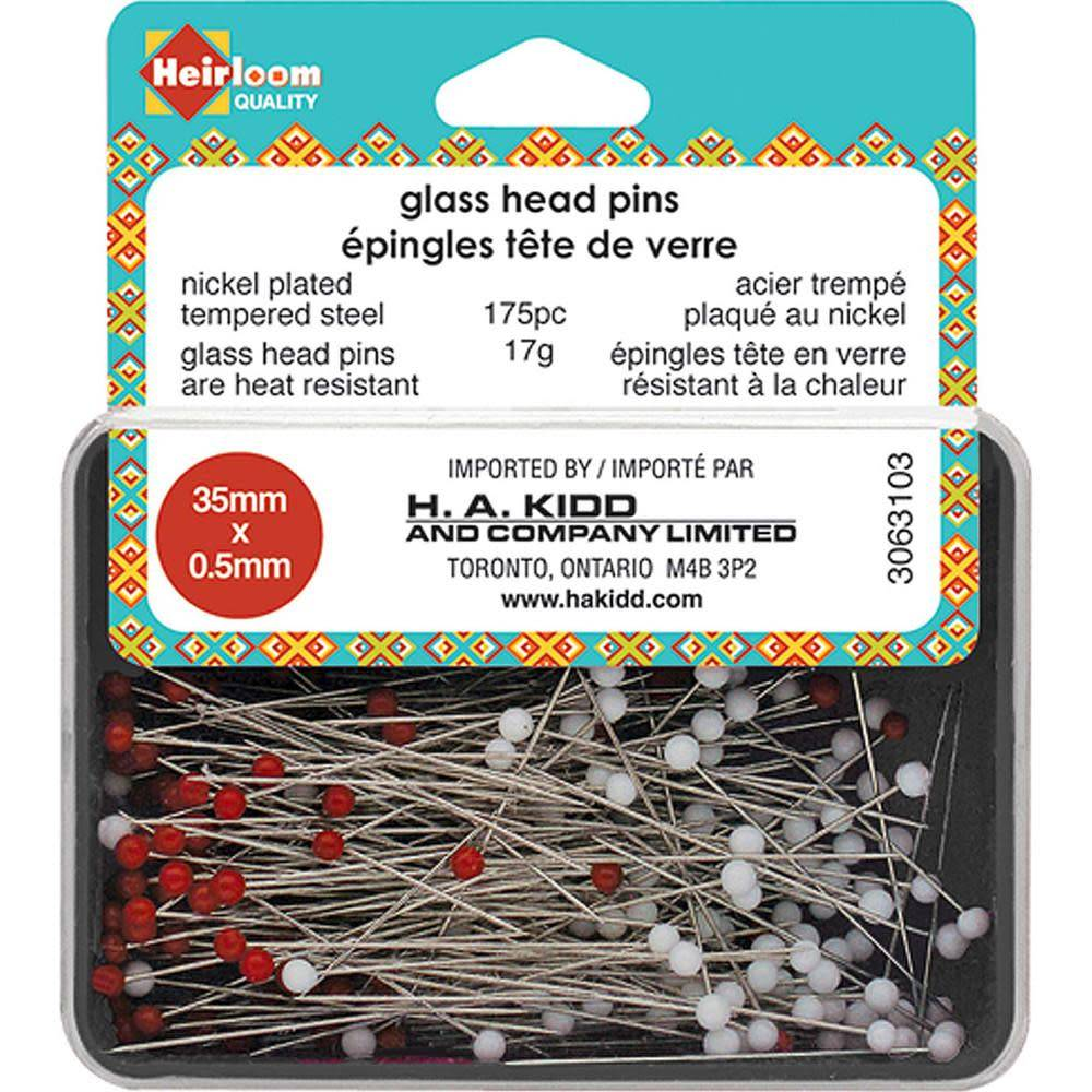 HEIRLOOM Glass Head Pins - Red & White - 35mmx.5mm
